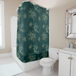 Rich turquoise vintage butterfly with halftones shower curtain