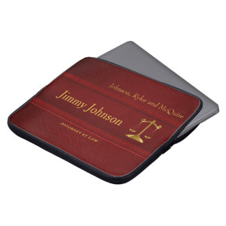Rich Upscale Deep Red Leather - Attorney Design Laptop Sleeve