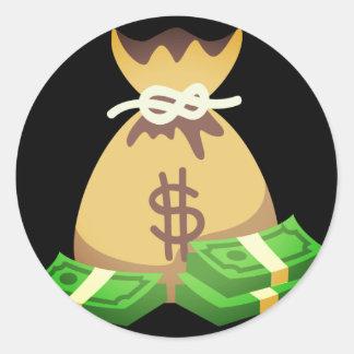 Rich Vibes | Bag of Money Emoji Classic Round Sticker
