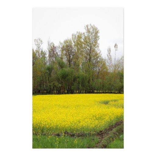 Rich yellow mustard fields in Kashmir Stationery Design
