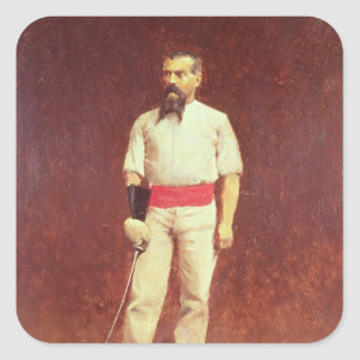 Richard Burton  in Fencing Dress, 1889 Square Sticker