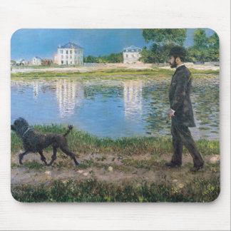 Richard Gallo and His Dog - Gustave Caillebotte Mouse Mat