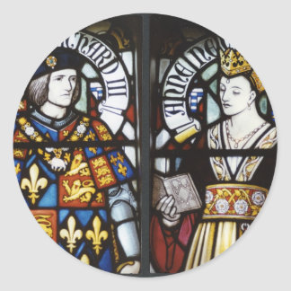 RICHARD III AND QUEEN ANNE OF ENGLAND ROUND STICKER