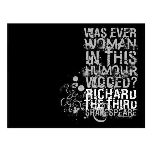 Richard III Wooed Quote (B&W) Postcards