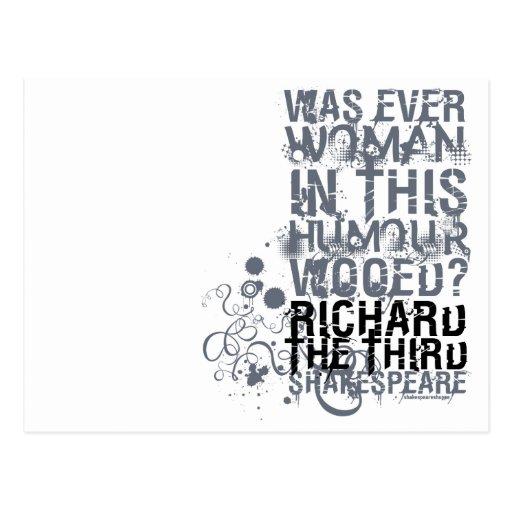 Richard III Wooed Quote (B&W) Post Cards