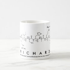 Mug featuring the name Richard spelled out in the single letter amino acid code