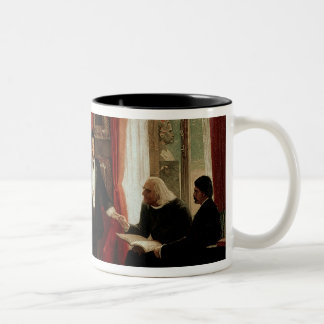 Richard Wagner with Franz Liszt and Liszt's daught Two-Tone Coffee Mug