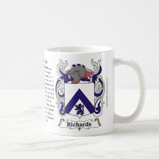 Richards Family Crest including the History and Me Basic White Mug