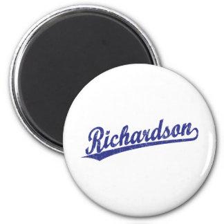 Richardson script logo in blue 6 cm round magnet