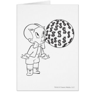 Richie Rich Blowing Bubble - B&W Card