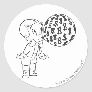 Richie Rich Blowing Bubble - B&W Classic Round Sticker