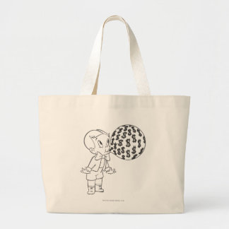 Richie Rich Blowing Bubble - B&W Large Tote Bag
