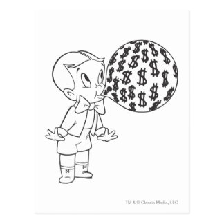 Richie Rich Blowing Bubble - B&W Postcard