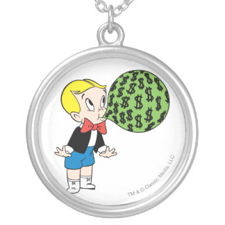 Richie Rich Blowing Bubble - Color Silver Plated Necklace