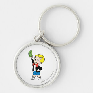 Richie Rich Dollar Bill - Color Silver-Colored Round Key Ring