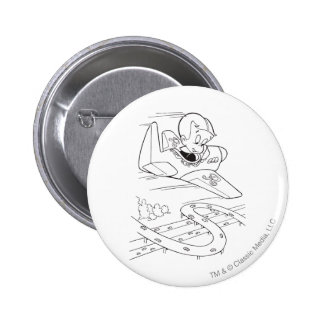 Richie Rich Flying Plane - B&W 6 Cm Round Badge