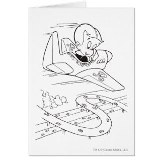 Richie Rich Flying Plane - B&W Card