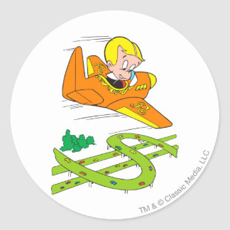 Richie Rich Flying Plane - Color Classic Round Sticker