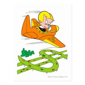 Richie Rich Flying Plane - Color Postcard