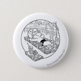 Richie Rich in Pool - B&W 6 Cm Round Badge