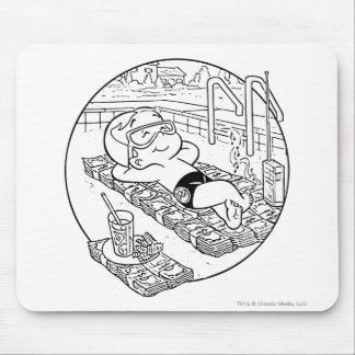Richie Rich in Pool - B&W Mouse Pad