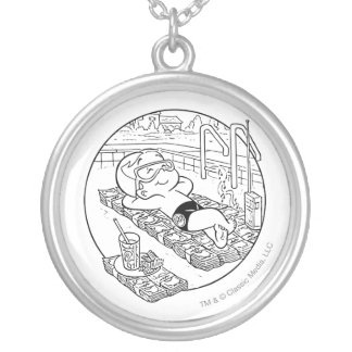 Richie Rich in Pool - B&W Silver Plated Necklace