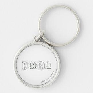 Richie Rich Logo - B&W Silver-Colored Round Key Ring
