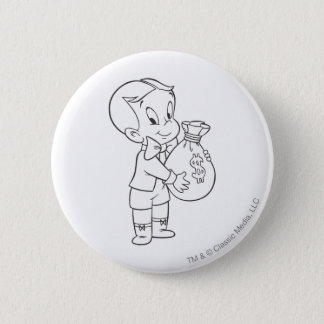 Richie Rich Money Bag - B&W 6 Cm Round Badge