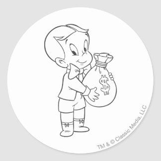 Richie Rich Money Bag - B&W Classic Round Sticker