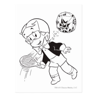 Richie Rich Paddle Ball - B&W Postcard