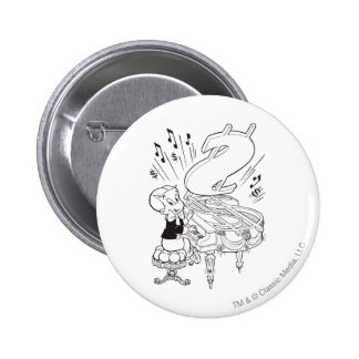 Richie Rich Playing Piano - B&W 6 Cm Round Badge