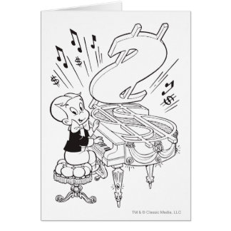 Richie Rich Playing Piano - B&W Card