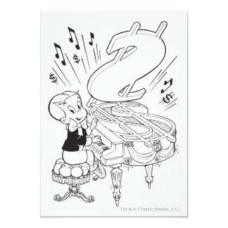 Richie Rich Playing Piano - B&W Card