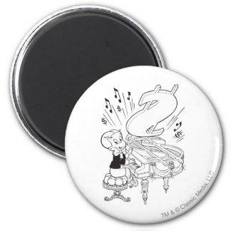 Richie Rich Playing Piano - B&W Magnet