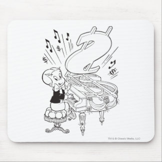 Richie Rich Playing Piano - B&W Mouse Mat
