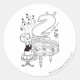 Richie Rich Playing Piano - B&W Round Sticker