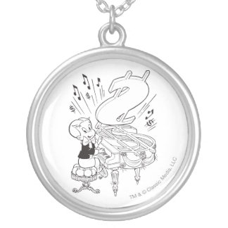 Richie Rich Playing Piano - B&W Silver Plated Necklace