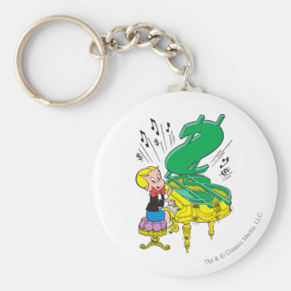 Richie Rich Playing Piano - Color Basic Round Button Key Ring