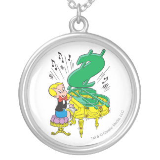 Richie Rich Playing Piano - Color Silver Plated Necklace