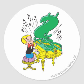 Richie Rich Playing Piano - Color Classic Round Sticker