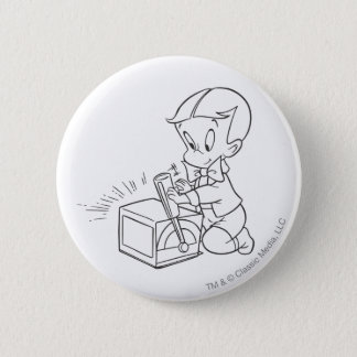 Richie Rich Playing with Toy - B&W 6 Cm Round Badge