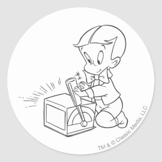 Richie Rich Playing with Toy - B&W Classic Round Sticker