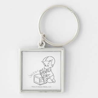 Richie Rich Playing with Toy - B&W Key Ring