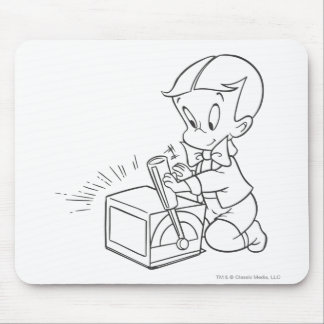 Richie Rich Playing with Toy - B&W Mouse Pad