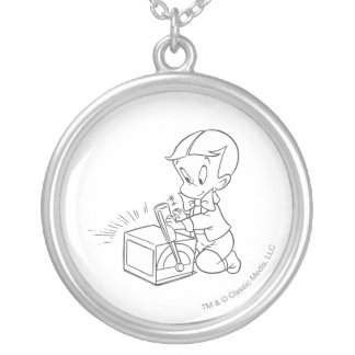 Richie Rich Playing with Toy - B&W Silver Plated Necklace