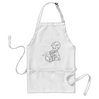 Richie Rich Playing with Toy - B&W Standard Apron