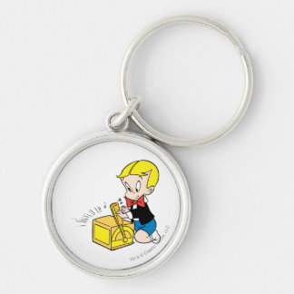 Richie Rich Playing with Toy - Color Silver-Colored Round Key Ring