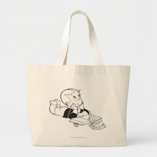 Richie Rich Studying - B&W Large Tote Bag