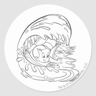 Richie Rich Surfing - B&W Classic Round Sticker