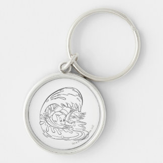 Richie Rich Surfing - B&W Silver-Colored Round Key Ring